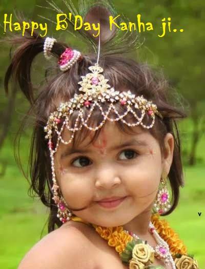 Cute Bal Krishna pic Happy Bday Kanha ji Image
