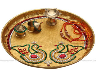 raksha-bandhan decorated thali designs with photo