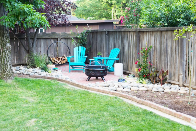 Easy DIY Backyard Patio with Brick Pavers » Lovely Indeed on Diy Back Patio Ideas id=45462
