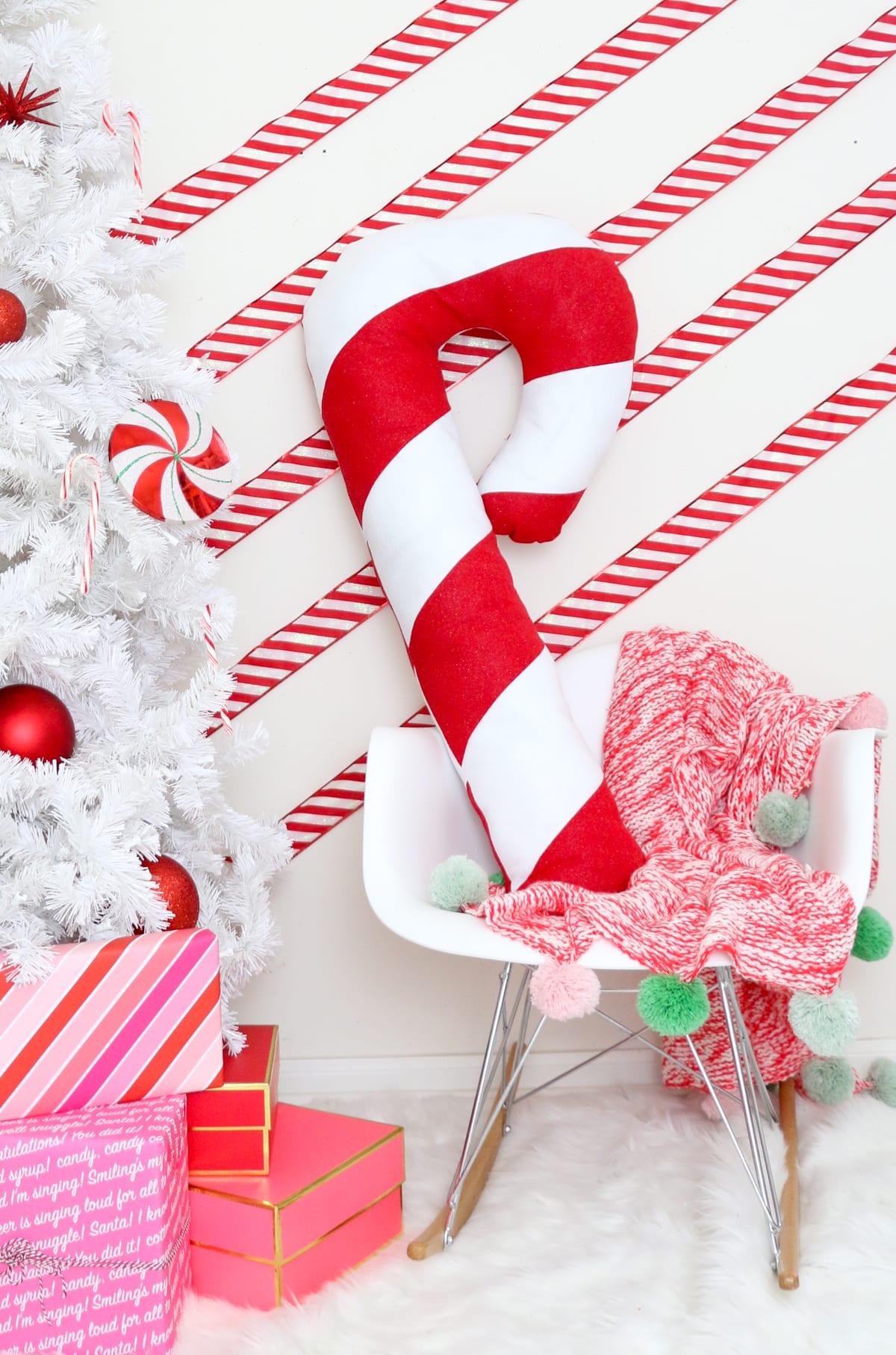 make a festive giant candy cane pillow