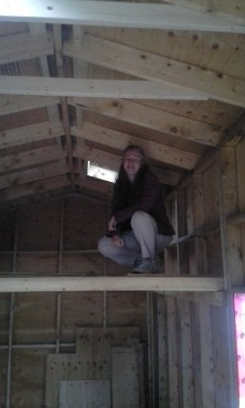 I convinced my momma to climb up into the loft!