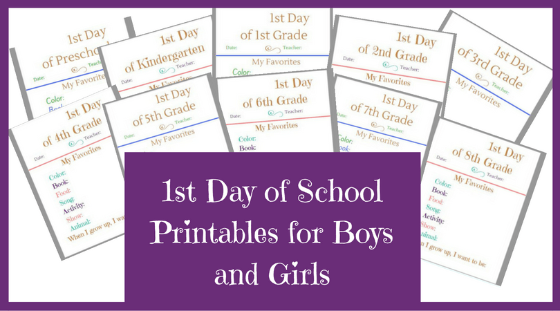 Free 1st Day of School Printable Signs