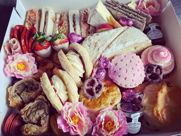 Afternoon tea in Derbyshire. Takeaway afternoon tea box for Mother's Day from The Star at Cotton.