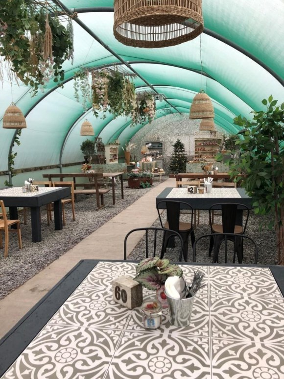 outdoor seating Derbyshire - covered garden room at Pip Tree Cafe