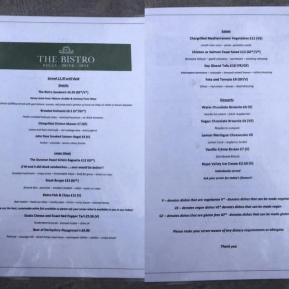 Dunston Hall garden centre bistro menu