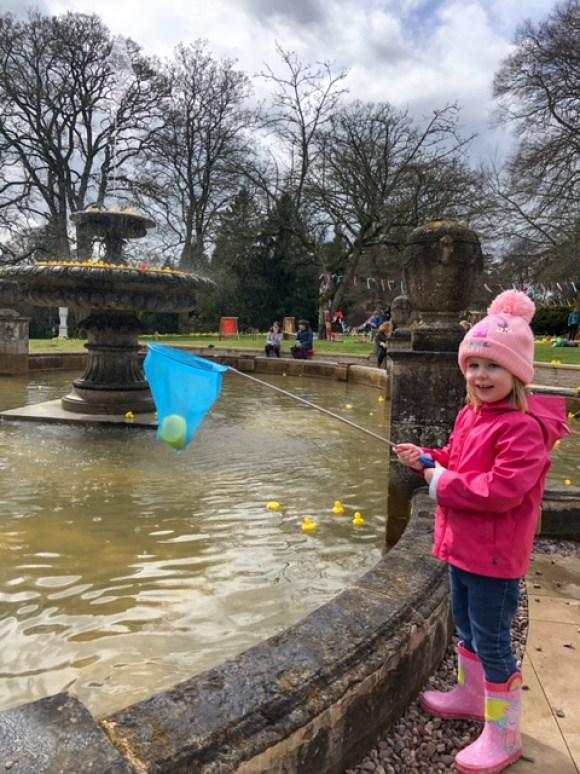 rubber duck fountain at Thornbridge Hall Gardens