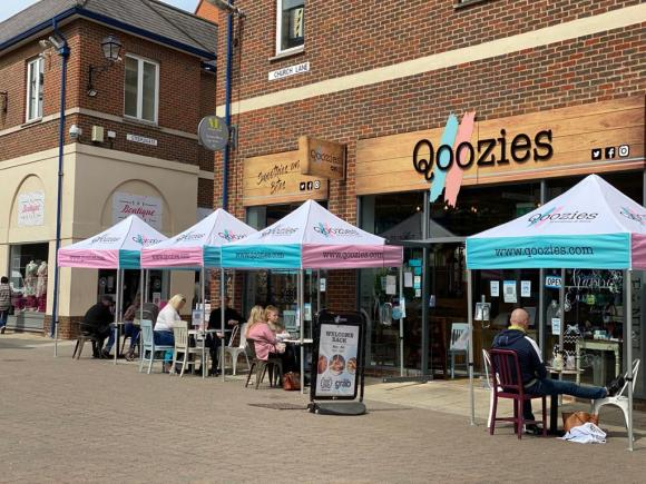 outdoor seating in Chesterfield Qoozies