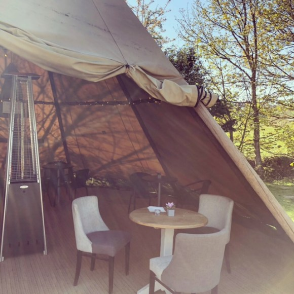 outdoor seating in Chesterfield - cosy tipi at Stretton Hall Farm Shop