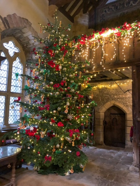 Huge Christmas tree at Haddon Hall Christmas market in Derbyshire
