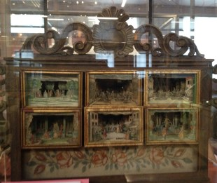 Miniature 3-dimensional theatre, made by children's illustrator Martin Engelbrecht around 1721