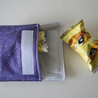 Pochette à biscuits violette à paillettes