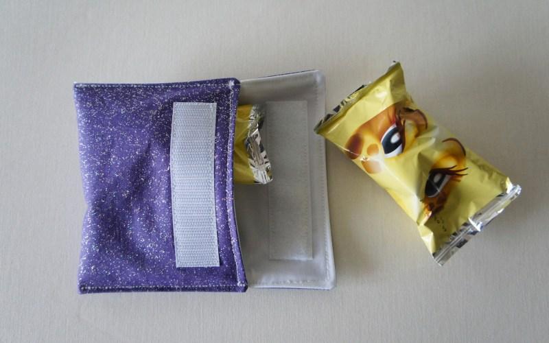 Pochette à biscuits violette pailletée