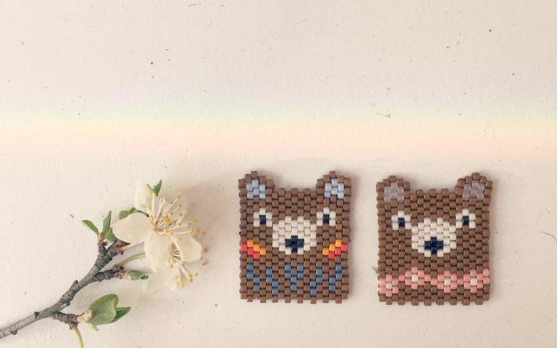 Couple ours tissage brick stitch