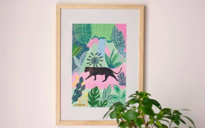 Panthère noire et jungle - peinture