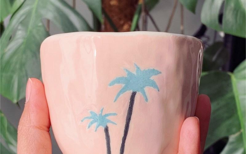 Mug palmiers en céramique fait main