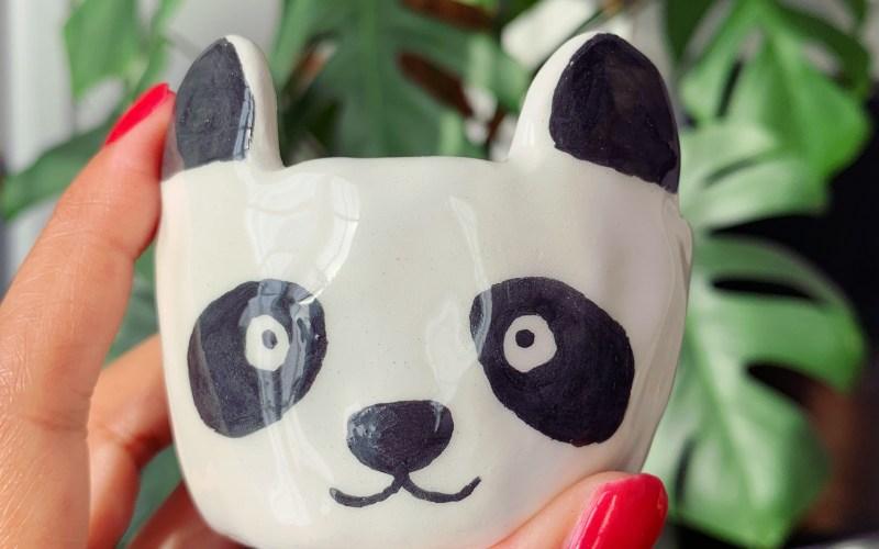 Mini pot panda en céramique fait main