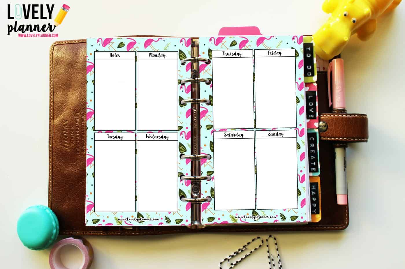 Freebie Flamingo Planner Inserts WO2P Vertical Layout
