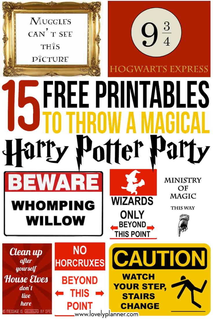 15 free harry potter printables to throw a magical Harry Potter Party for halloween, birthday, etc! #harrypotter #party #freeprintable #freepartyprintable #home #lovelyplanner