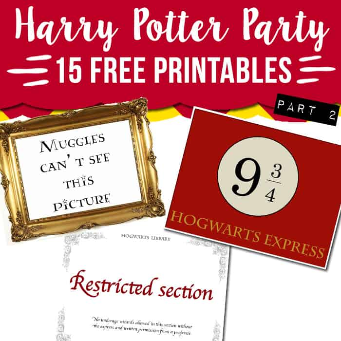 15 free harry potter party printables