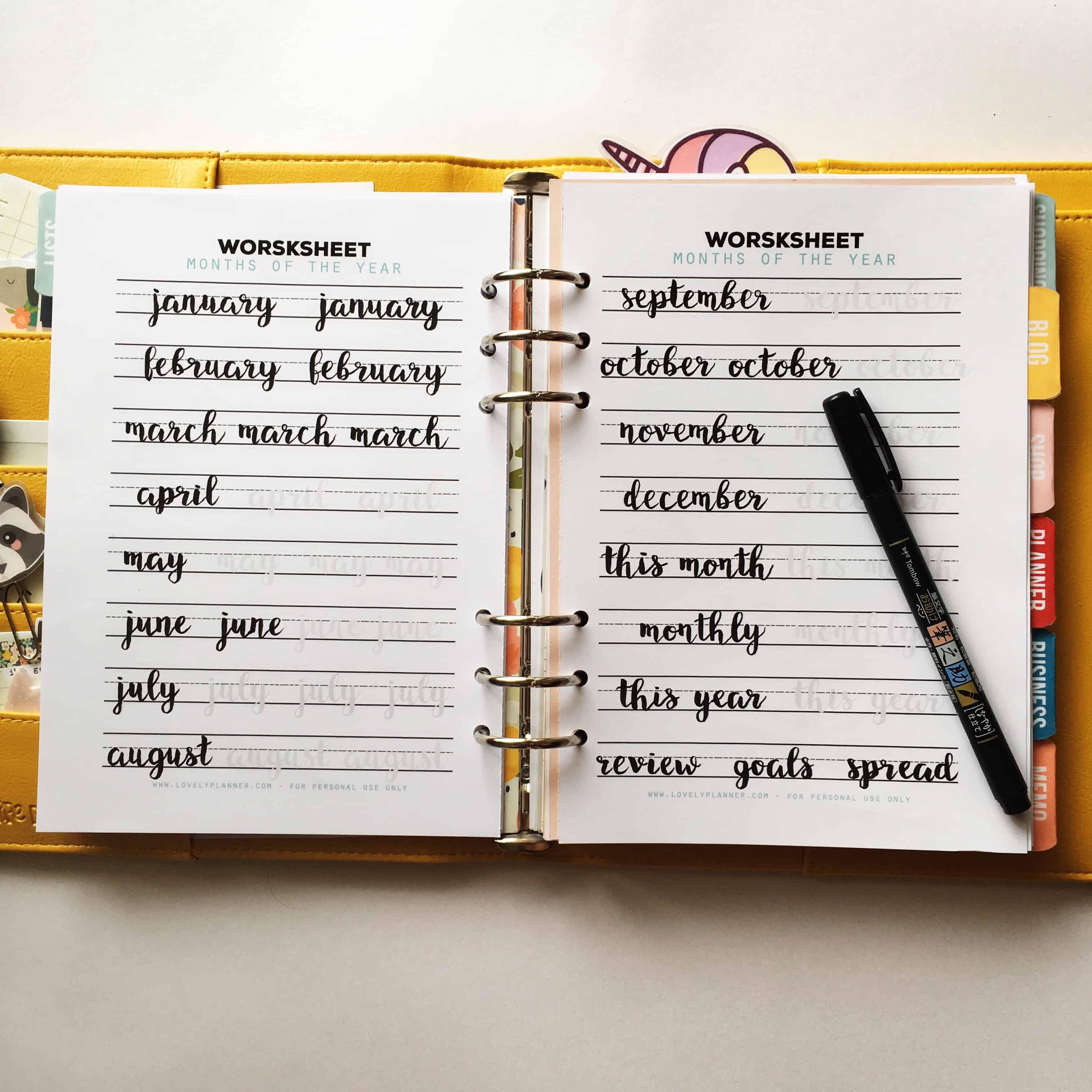 Months Free Lettering Practice Worksheet Planner Insert