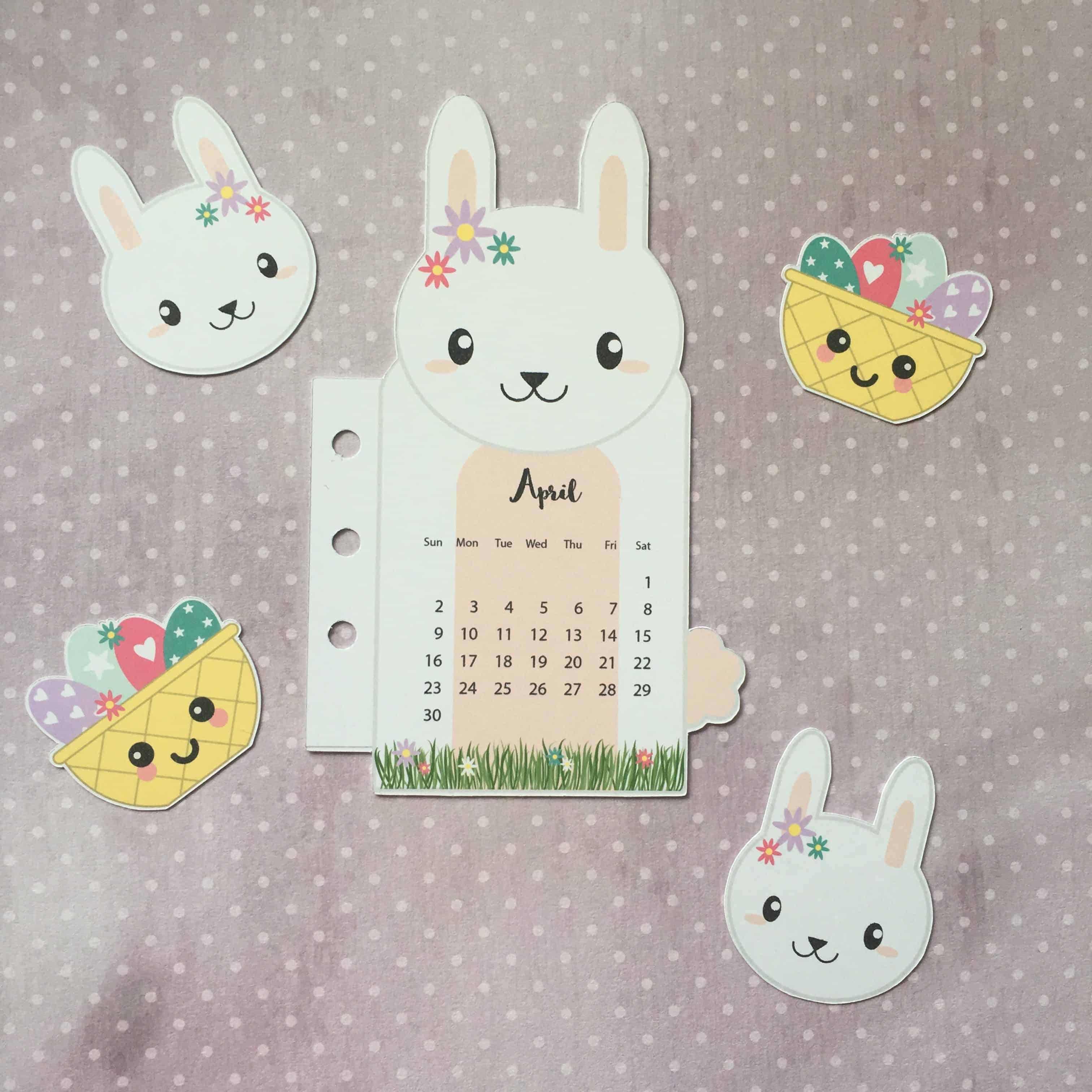 Bunny Rabbit Printable Planner Calendar