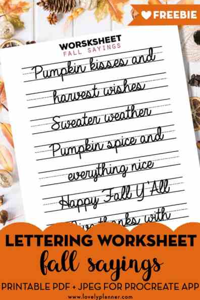 Free Lettering practice worksheets with fall and thanksgiving sayings, to celebrate the release of my new lettering practice workbook! #lettering #fall #thanksgiving #practiceworksheet #lovelyplanner
