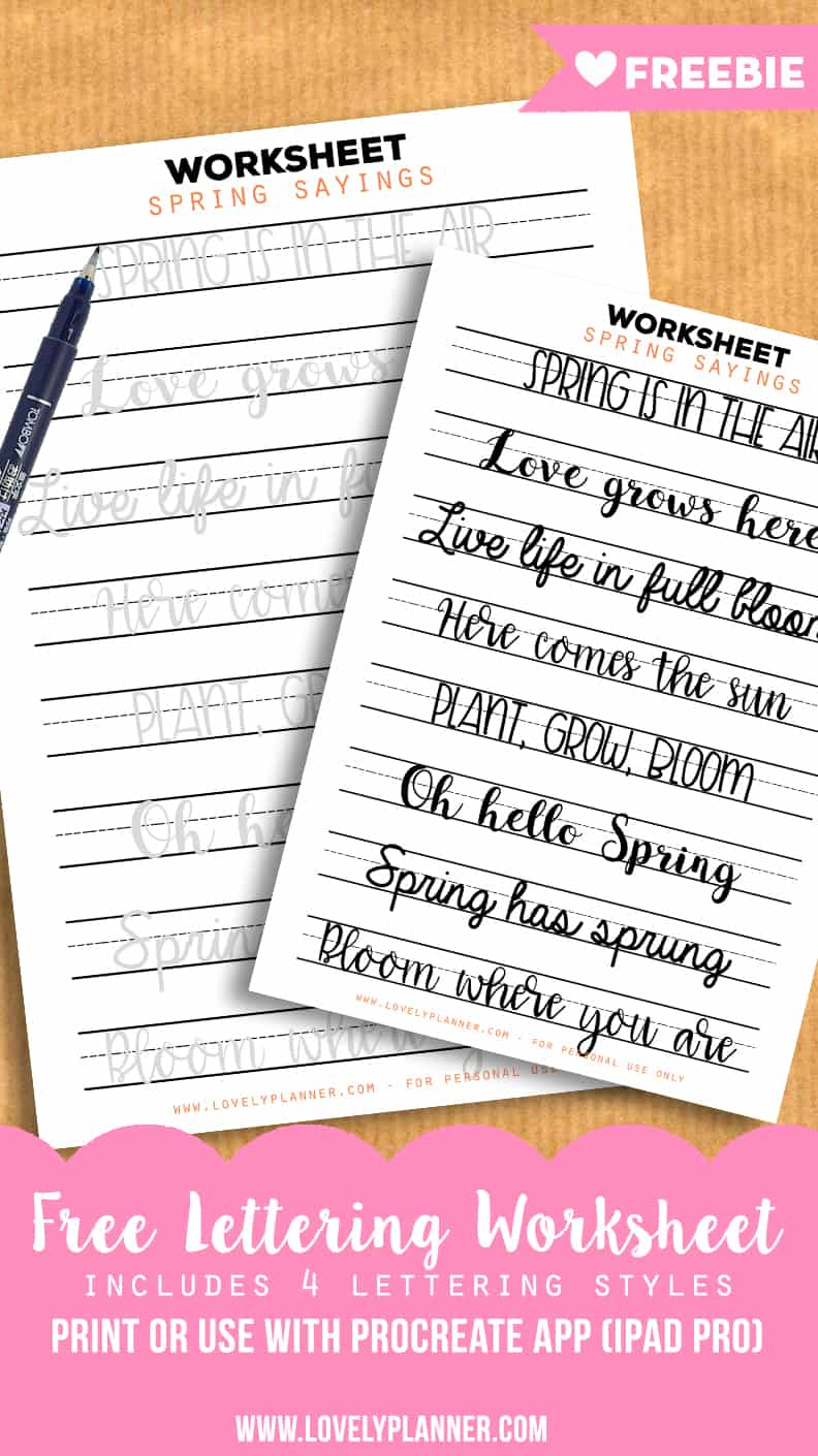 New Workbooks + Free Lettering Practice Worksheets with Spring Sayings