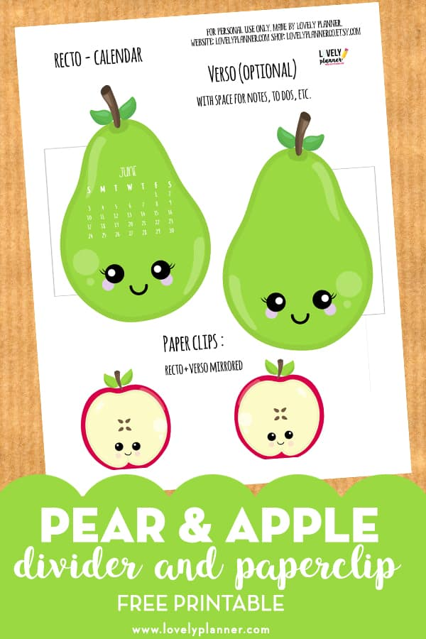 Free Printable Kawaii Pear and Apple calendar divider and paperclip