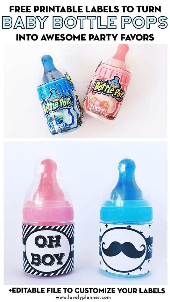 Turn Baby Bottle Pops into Party Favors with free printable labels for your baby shower!