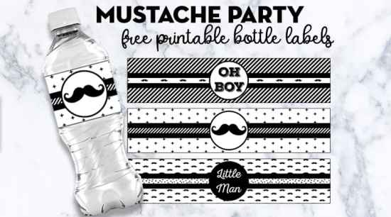 Free Printable Water Bottle Labels Mustache Party + many other matching free printables perfect to decorate your baby shower, baby's first birthday or any other event with Mustache Party theme! #mustacheparty #freeprintable #partyprintable #bottlelabels #babyshower #Birthday #lovelyplanner