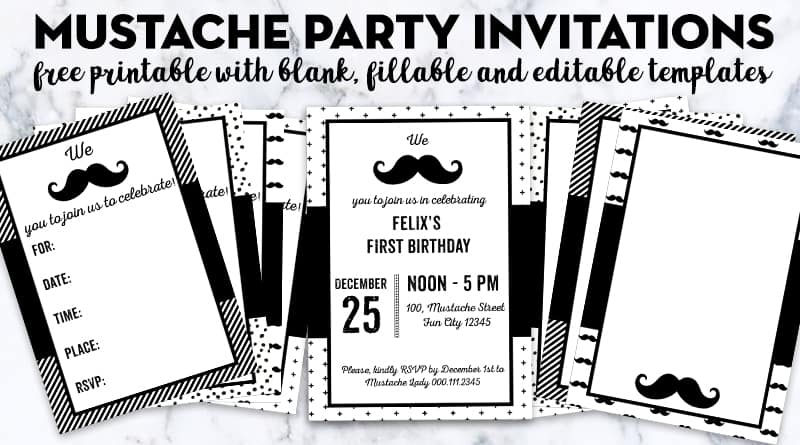 Free Printable Mustache Party Invitations With Blank And Editable Templates For Your Next Event Baby