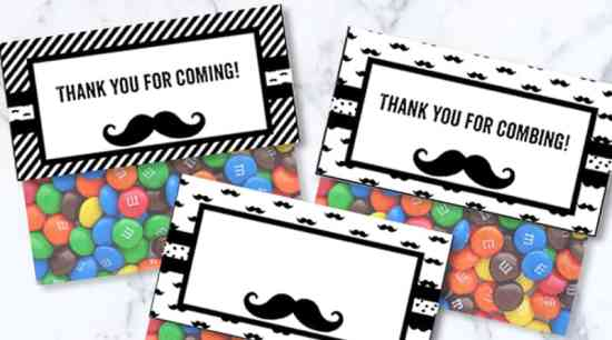 Free Printable Candy Bag Toppers for your Mustache Party. Also check out the many matching monochromatic free printables I created to help you throw an awesome Mustache Party Baby Shower, Birthday... #freeprintable #party #mustacheparty #candybagtoppers