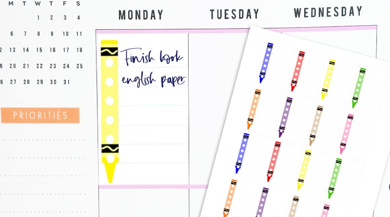 Free Printable Full Box Crayons School Checklist Stickers to keep track of your homework and school activities in your planner + more Back to School free printables! #freeprintable #plannerstickers #backtoschool #crayons #stickers #lovelyplanner