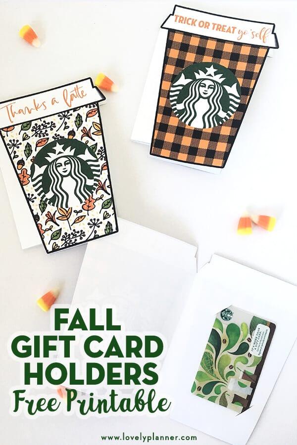 Starbucks Fall Gift Card Holder Thanks A Latte Fall Free