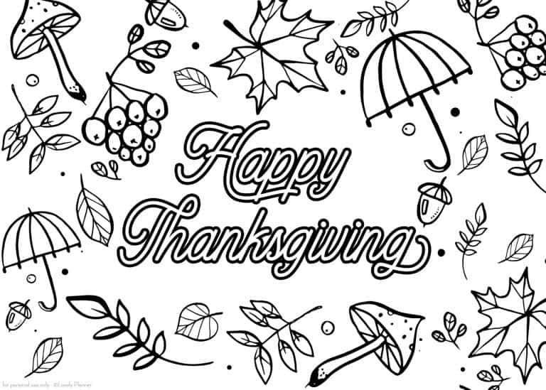 Free Printable Thanksgiving Coloring Page In 3 Sizes Lovely Planner