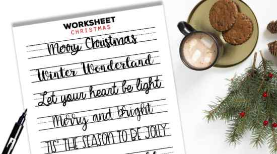 Free Printable Hand Lettering Worksheet with Christmas sayings to improve your hand lettering and decorate your planners, bujo, gift tags, christmas cards, etc. #freeprintable #lettering #calligraphy #christmas #planner #lovelyplanner