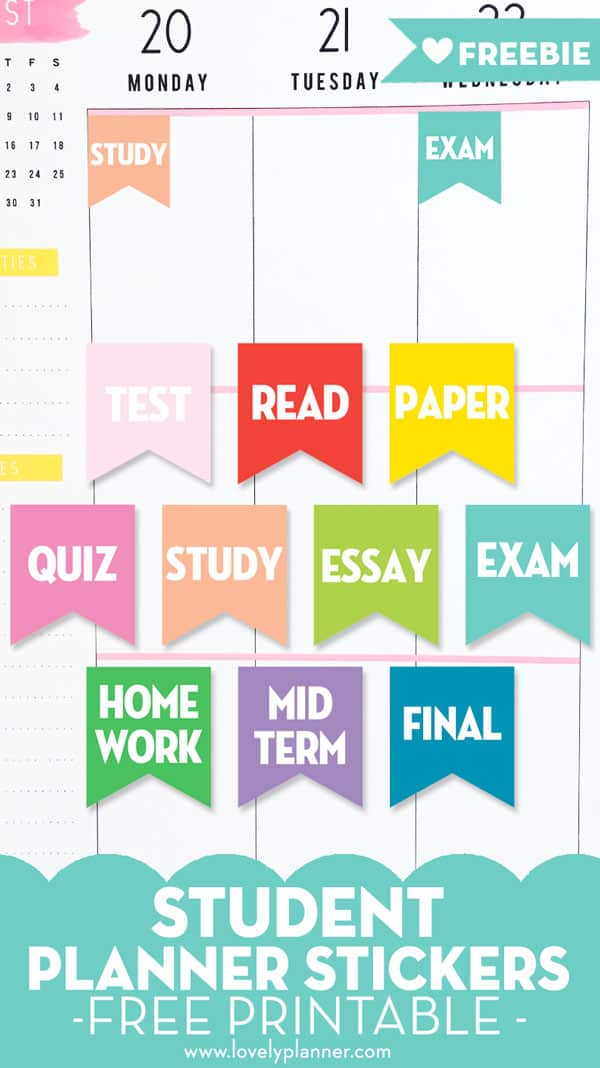 Free Printable Student Planner Stickers - 10 flag stickers to keep track of the tasks and events of your busy student life or college life: test, read, quizz, exam, paper, essay, homework, study, mid term, final... #student #freeprintable #organization #planner #stickers #plannerstickers #printable #lovelyplanner