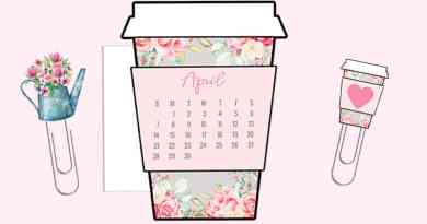 Free Printable Floral Farmhouse Coffee Cup Die Cut or Calendar Divider & Paperclips to decorate your planner or bullet journal. #freeprintable #lovelyplanner #farmhouse #planner #spring
