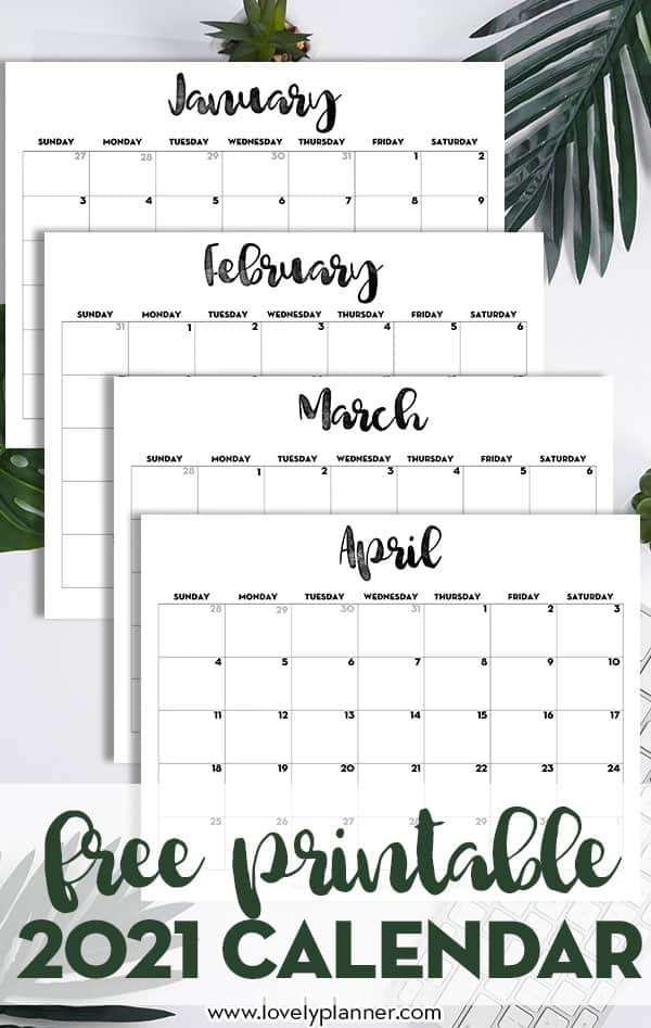 Create a photo calendar is really a very nice way to share special memories with family and friends. 2021 Calendar Printable Free Template - Lovely Planner