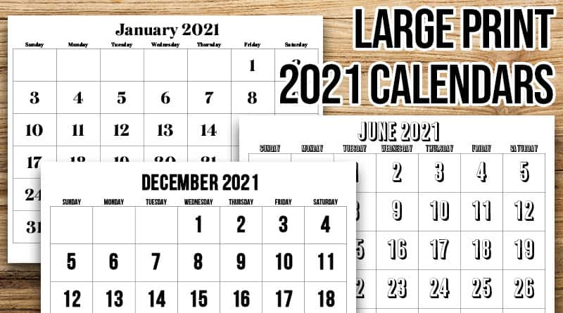Free custom calendar creator can create calendar for any period of months and years. Free Printable Large Print 2021 Calendar - 12 month ...