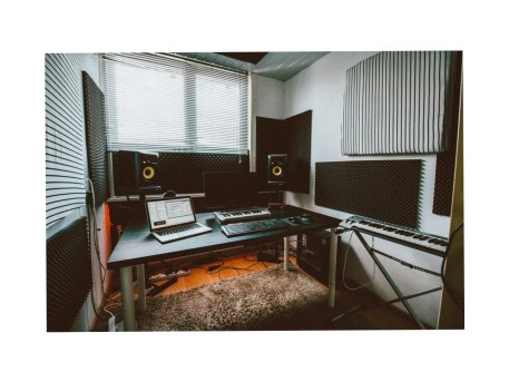 Record Studio with Black Egg Crate Acoustic Foam Resized