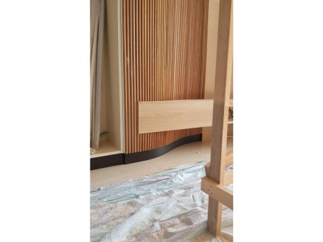 Accent Wall with Semi Circle Wood Moulding Project (1)