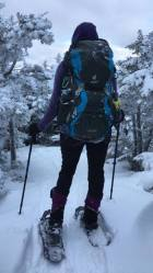 Willow rocking the MSRs and trusty Deuter pack.