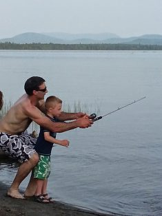 Uncle Hollis teaching Dres to cast