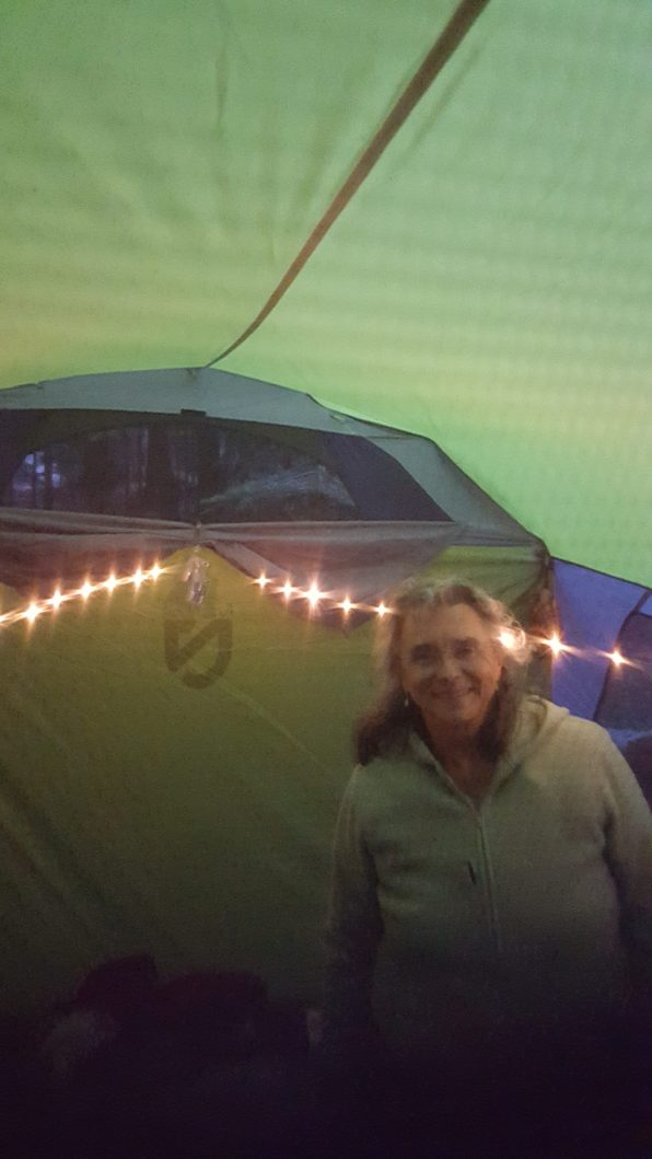 My mom and her new tent!