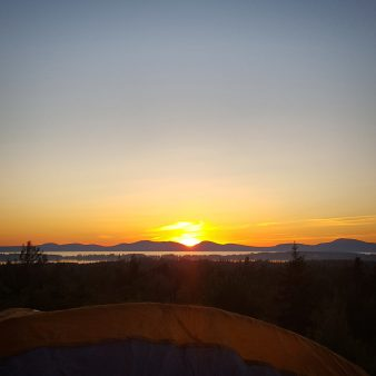 Sunset over our tent
