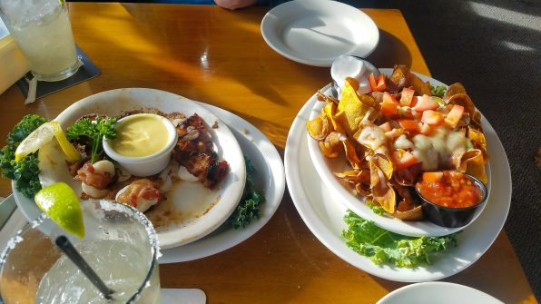 Whale's Tooth Pub Lincolnville Maine, casual waterfront dining, bacon wrapped scallops, sweet potato nachos
