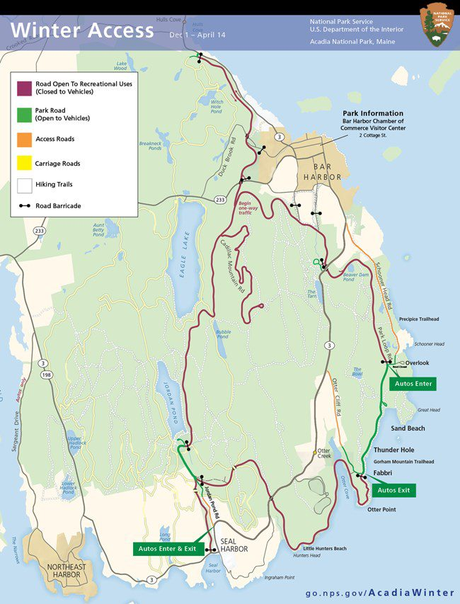 how to access acadia national park in the winter