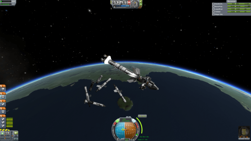 Jebediah casts off a mess of liquid-fuel boosters.