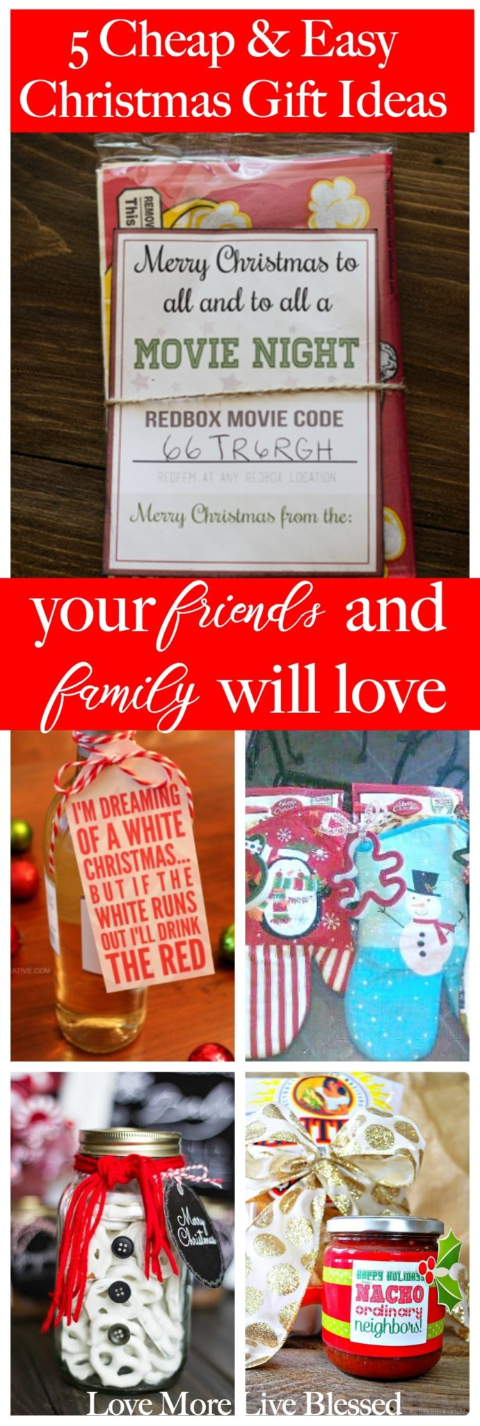 Here are the 5 cheap and easy christmas gift ideas for friends and family. You can gift these to co-workers or mail the popcorn and redbox code to out of state family members. I love how simple and fun these christmas gift ideas are! DIY Christmas, christmas gifts for friends, easy christmas gifts